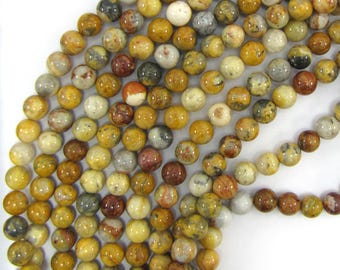 """8mm natural crazy lace agate round beads 15.5"""" strand 13558"""