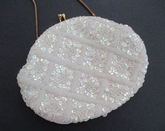 Ivory Creamy White Beaded Evening Bag Clutch Purse Wedding Bride