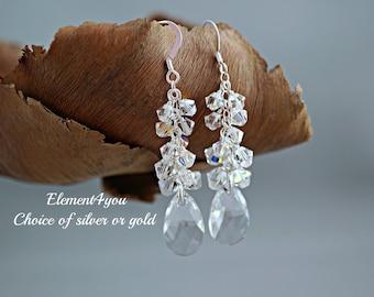 Bridal Crystal Earrings, Clear Crystal Teardrop Clusters Earrings, Wedding Jewelry, Bridal Earrings, Bridesmaid Gift, Swarovski Long Drop