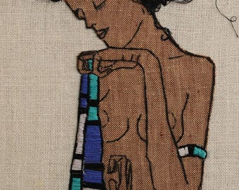 Egon Schiele Embroidery Art. Hand embroidered