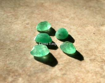 Natural Emerald 8x6mm Rose Cut Oval Cabochons / Zambian Emerald / Price per piece