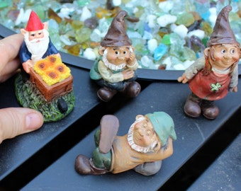 Gnomes-Miniature Garden gnome-Resin gnome-fairy garden decor-Terrarium supplies
