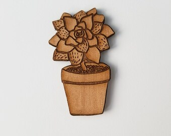 Succulent Brooch Pin, Plant brooch pin, Wooden brooch pin, cactus pin, laser engraved art