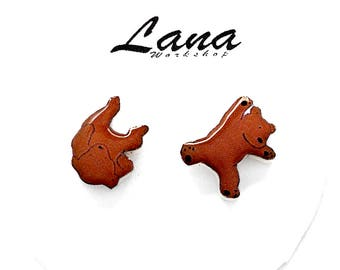 Bears earrings, earrings Bears, Bears jewelry, Bears clay, forest animal earrings, brown earrings, selfish symbol