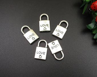 10Pcs 10x20mm Silver Lock Charms, Antique Silver Tone 2 Sided Padlock a Heart-p1283-B