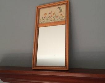 Vintage mirror, pretty hummingbirds print, wooden framed mirror, mid century decor, light wood color.