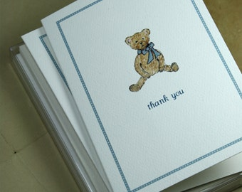Thank You Note Teddy Bear. New Baby Thank You Notes, Set of 8. Handmade Notecards Greeting Cards Packaged