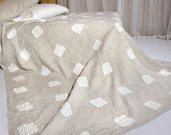 Linen Double sided Flax King size quilts,quilt  Flax quilted bedspread linen quilt Natural linen Bedspread bedroom decor King size
