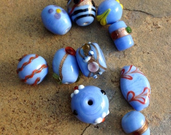 Blue Multi Shape Lampwork Glass Beads, 10 loose beads, 10 to 18mm