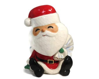 Vintage Christmas Figurine, Mid Century Santa Claus, Ceramic Planter, Hand Painted, Santa Planter, Holiday Decor, Santa Collectible