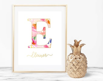 Monogram Nursery Printable Wall Art, Floral Wreath Nursery Print 8x10, Baby Name Art, Gold Foil Pink Digital Art, Girl Nursery Decor