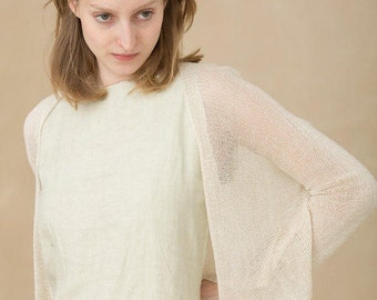 Ivory jacket knitted women Cream cardigan