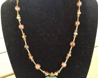 Heart-Green-Jade -wire beaded necklace