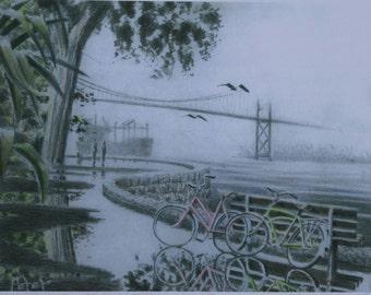 Bridge Bikes Puddles and Path