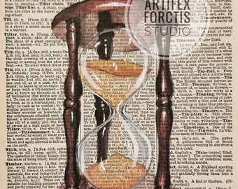 Print: Antique Dictionary Art 'Hourglass' Watercolor Painting