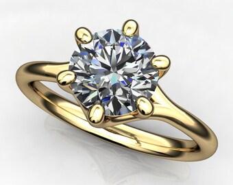 avery ring - 1 carat diamond cut round NEO moissanite engagement ring