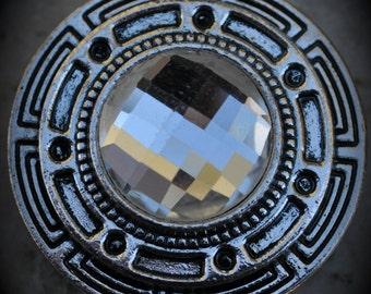 Silver Crystal 2 Hole Large Sliders - 7319
