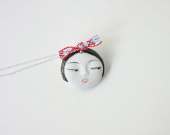 Little head Face Handmade Porcelain Ceramic Pendant Necklace