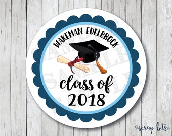 Graduation Cap & Diploma Personalized Stickers or Labels . College, High School, Pre School