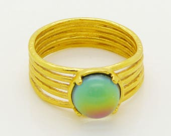Mood Ring 24k gold plated Setting, Size 6.5