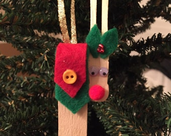 Clothespin Reindeer Christmas Tree Ornament