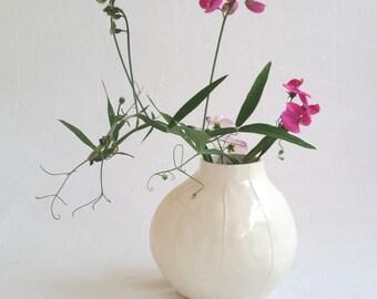 White ceramic vase. White pottery. Simple modern design. Short round flower vase. Wedding gift under 100. Handmade at Kri Kri Studio Seattle