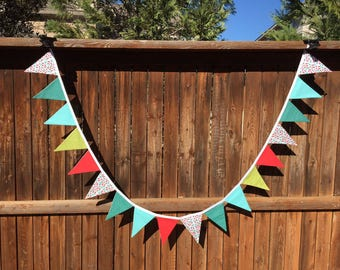Modern Cloth Fabric Bunting - 9 feet aqua, green, red and white