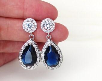 Blue Wedding Earrings Blue Bridal Earrings Wedding Jewelry Sapphire Blue Earrings Wedding Crystal Bridal Earrings Something Blue