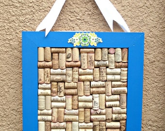 Blue Square Wine Cork Board with a White Bow