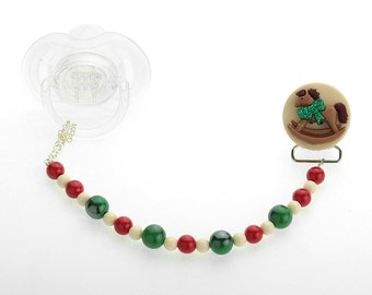 Festive Holiday Pacifier Clip (CHRH)
