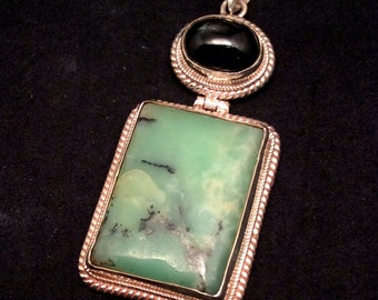 Green Chrysoprase Pendant. Sterling Silver Hinged w/ White Opal or Black Star. free US ship.