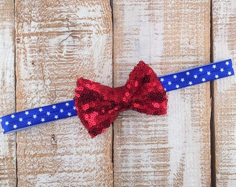 Patriotic Headband, Red Bow, Red, White & Blue Headband, Newborn Headband, Toddler Headband, Girls Headband