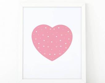 Pink heart, heart print, Nursery Wall art, heart wall art, nursery decor, Printable art, scandinavian art, love wall art, modern room decor
