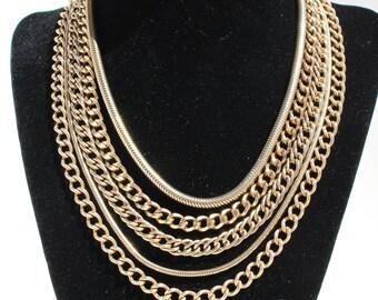 Vintage 1950's Hattie Carnegie Gold Tone Multi Strand Chain Necklace