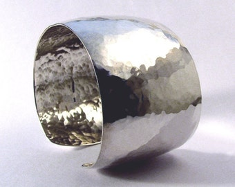Sterling Bracelet Cuff, Hammered, 1 1/2 Inch Wide