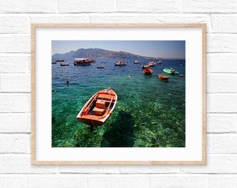 Greek Boats on Mediterranean Sea Santorini Photography Digital Print