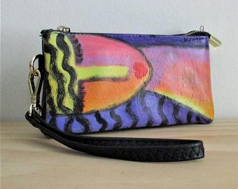 Abstract Art Hand Painted Wristlet Clutch Bag Purse Handbag