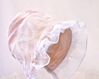 Elegant Silk baby bonnet - Dusty-Pink and lace baby hat, girl hat, baby girl gift, photo prop, antique style bonnet, Pink Silk Easter bonnet