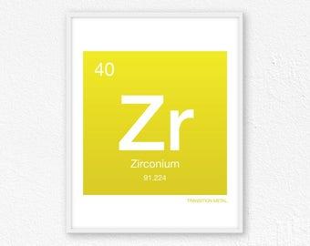 Zirconium periodic etsy 40 zirconium periodic table element periodic table of elements science wall art urtaz Images