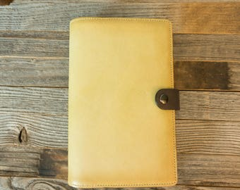 Large Moleskine Classic~Shinola~Piccadilly~Leather Cover~Journal Sz 5x8.25~Aged~Patina~Personalize~Penholder~Refillable~Lt. tan & dark brown