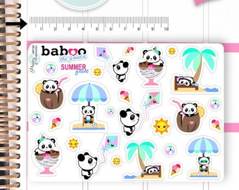 Kawaii Summer Stickers Summertime Stickers Panda Stickers Kawaii Stickers Planner Stickers Functional Stickers Decorative Stickers NR785