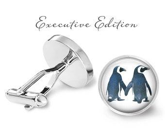 Penguin Couple Cufflinks - Penguin Cuff Links - Penguins Cufflink (Pair) Lifetime Guarantee (S0490)