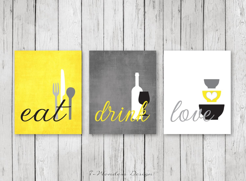 Kitchen Wall Art Print Set Eat Drink Love Yellow Grey