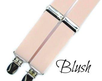 Adult Blush Suspenders, Mens Blush Suspenders, Blush Pink Suspenders, Ring Bearer Gift, Petal Suspenders, Mens Braces, Toddler Suspenders