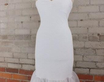 Short Wedding Dress, Strapless White Reception Dress, Prom Dress, Elopement Dress