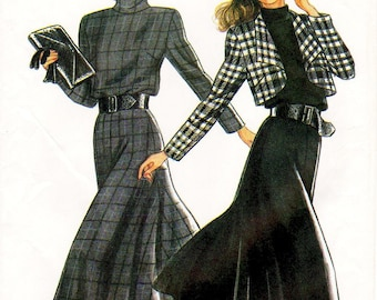 New Look Dress Pattern 6017 -  Misses' Flared, Turtleneck Dress and Cropped Jacket - Sz 8/10/12/14/16/18