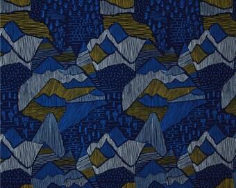 Fat Quarter Lore Olympus Navy By Cloud9 Fabrics, Organic Fabric, Mountains, Adventure Print