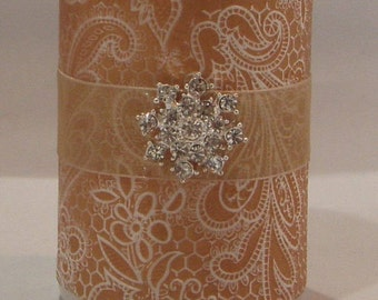 Embossed Handmade Pillar Candle, Gold Candle, Home Decor Candle, Wedding Candle