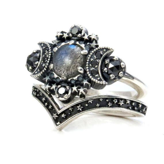 Labradorite Cosmos Engagement Ring Set - Triple Moon Goddess Silver Ring - Sterling Silver