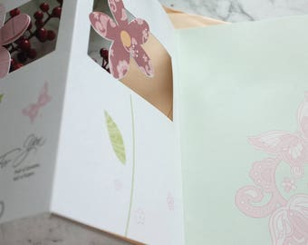 Tri-fold Flower greeting card /blank card/ Birthday Card/ Specially for you